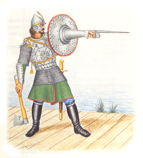 Воин, вооруженный топором, мечом и тарчом