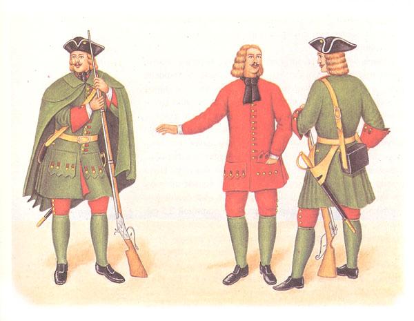 Фузилеры (слева фузилер в епанче)