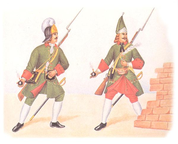 Рядовой гренадер лейб-гвардии Преображенского полка и рядовой гренадер армейского полка