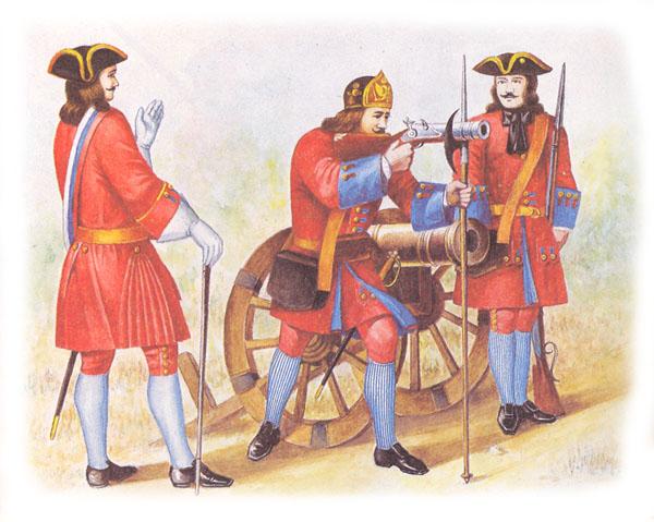 Офицер, бомбардир и фузилер артиллерийского полка