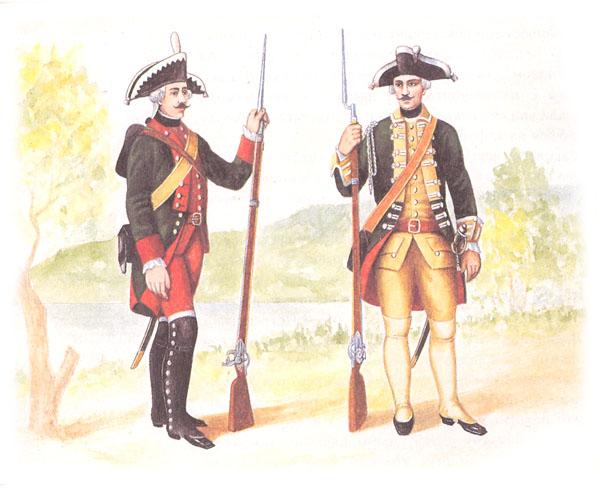 Рядовой мушкетер в походной форме и мушкетерский сержант