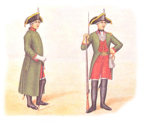 Офицер пехотного полка в сюртуке и обер-офицер пехотного полка в парадной форме