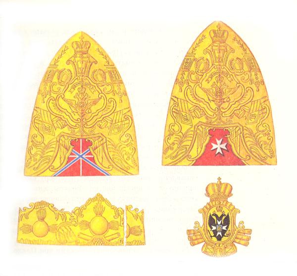 Гренадерские шапки с изображением кайзеровского флага и мальтийского креста