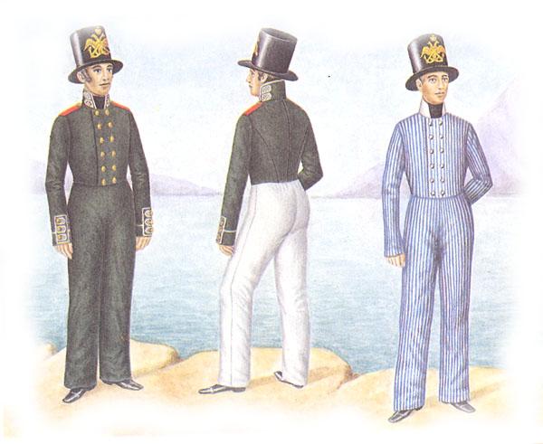 Матросы гвардейского экипажа в зимней и летней строевой и летней повседневной форме