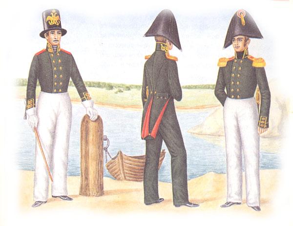 Унтер-офицер, обер-офицер и штаб-офицер гвардейского экипажа