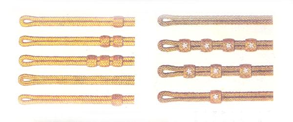 Плечевые гусарские шнуры с различием по воинским званиям