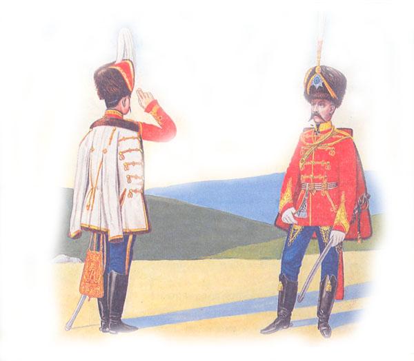 Обер-офицер и генерал лейб-гвардии Гусарского Его Величества полка в парадной форме