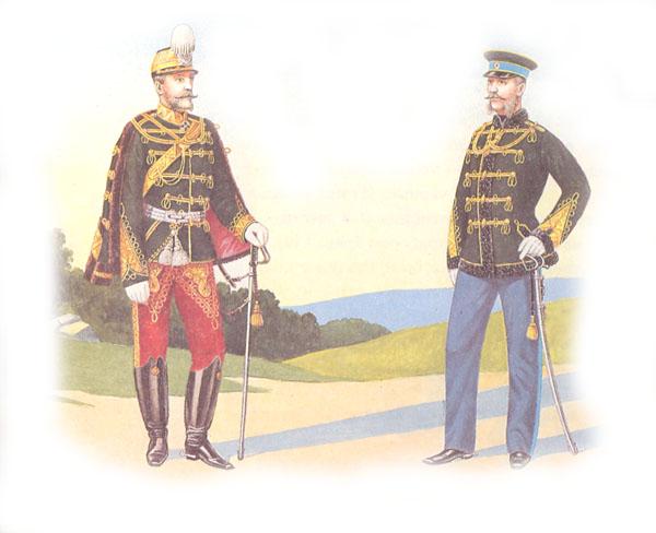 Генералы лейб-гусарского Павлоградского Его Величества полка в парадной и повседневной форме