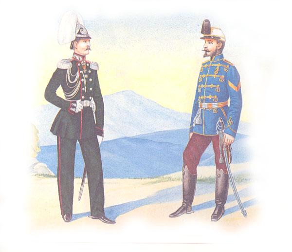 Штаб-офицер Генерального штаба в парадной форме и   рядовой Третьего гусарского Елисаветградского полка в венгерке