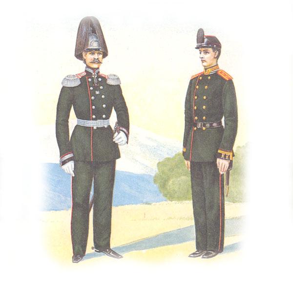 Штаб-офицер Николаевского инженерного училища и юнкер Михайловского артиллерийского училища в парадной форме
