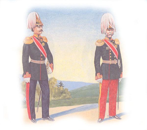 Пехотный генерал в городской форме и пехотный генерал в парадной форме