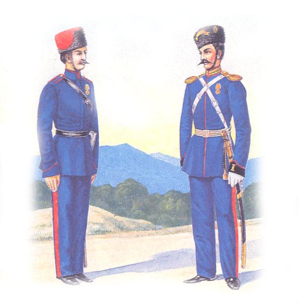 Казак Донского войска и обер-офицер Донской конно-артиллерийской бригады в парадной форме