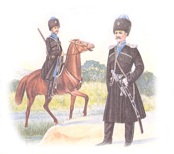 Казак и обер-офицер конного полка Терского войска в парадной форме