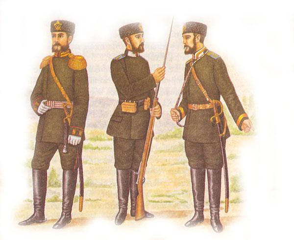 Штаб-офицер, рядовой и фельдфебель пехотных полков в парадной форме