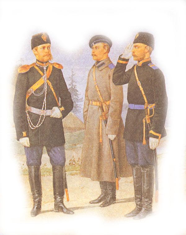 Форма одежды армейских драгун (обер-офицера, рядового и вахмистра)