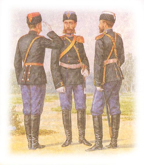 Форма одежды армейских драгунских полков (в барашковых шапках)