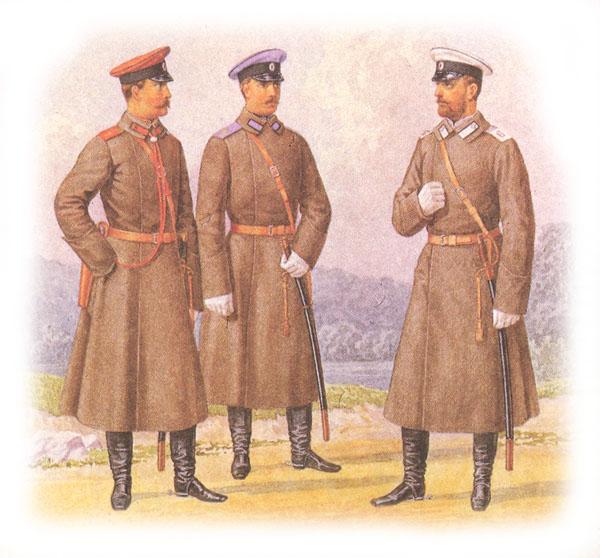 Форма одежды армейских драгунских полков (в шинелях)