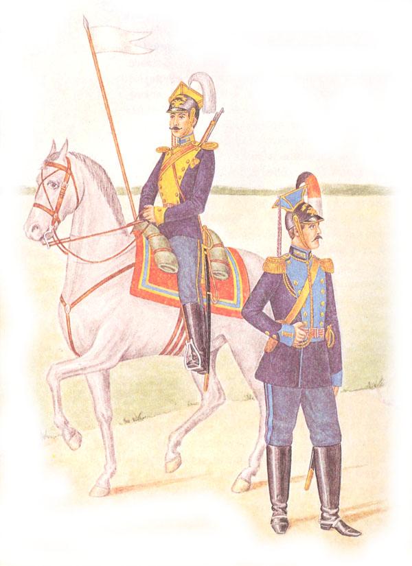 Рядовой 12-го уланского Белгородского полка в парадной форме и генерал 2-го лейб-Уланского Курляндского императора Александра III полка в парадной форме