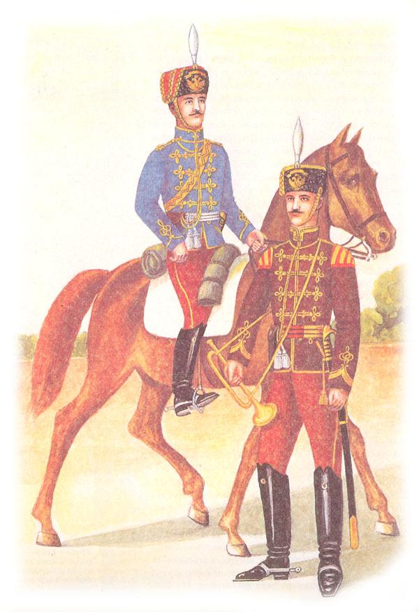 Обер-офицер 1-го гусарского Сумского полка и трубач 12-го гусарского Ахтырского полка в парадной, форме