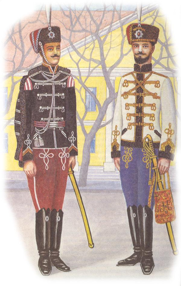 Трубач лейб-гвардии Гродненского гусарского полка в парадной форме и обер-офицер лейб-гвардии Гусарского Его Величества полка в парадной бальной форме