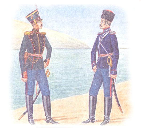 Обер-офицер 1-й гвардейской артиллерийской бригады и обер-офицер конного полка Донского казачьего войска в парадной форме